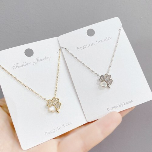 Korean Style Fashion Lucky Four-Leaf Clover Necklace Women's Fashion All-Match Pendant Clavicle Chain Gift for Women Jewelry