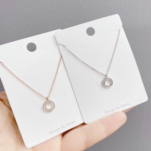 Korean Style New Full Diamond Ring Necklace Female Personality Clavicle Chain Pendant Jewelry
