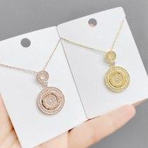 Micro Inlaid Zircon round Necklace Female Roman Digital European and American Fashion Clavicle Chain Pendant Jewelry