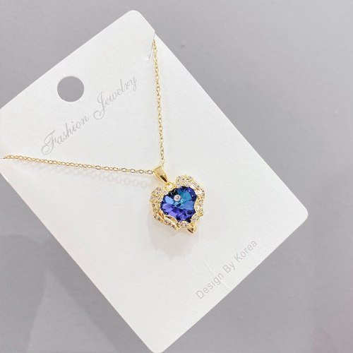 European and American Necklace Jewelry Zircon Love Necklace Female Personality Creative Clavicle Chain Pendant Ornament