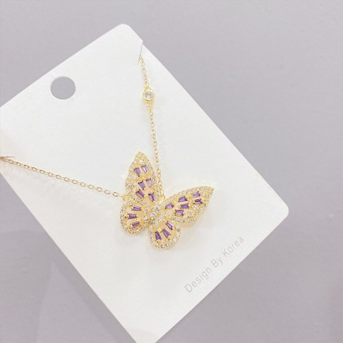 Women's Micro-Inlaid Zircon Butterfly Necklace European and American Exaggerated Clavicle Chain Pendant Jewelry