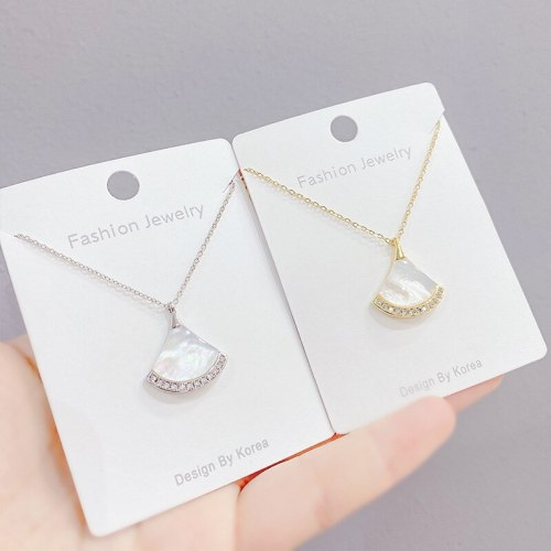 New Women's Necklace Korean Style Small Skirt Necklace Cute Simple Fan-Shaped Clavicle Chain Micro Inlaid Zircon Ornament