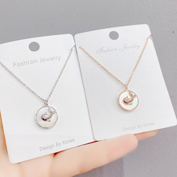 Fashion Short Clavicle Necklace Unicorn Star Moon Shell Necklace Female Pendant Dolphin Ornament