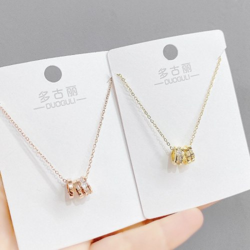 Fashion Korean Style Three-Ring Necklace Women's Multi-Ring Pendant Rose Gold Small Waist Clavicle Chain Jewelry
