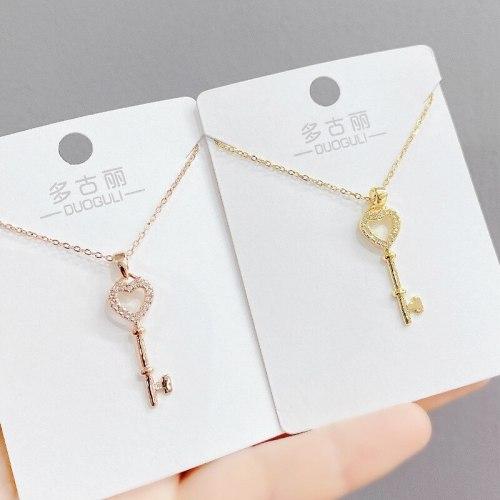 Women's Necklace 2021 New Personalized Micro-Inlaid Zircon Key Clavicle Chain Korean Fashion Fashion Jewelry