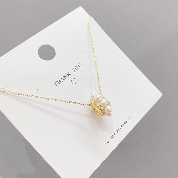 2021 New Circle Zircon Pearl Necklace Spring Light Luxury Clavicle Chain Necklace