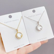 Micro Inlaid Zircon White Mother Shell Moon Necklace Fashionable Temperament Shell Star Moon Clavicle Chain Pendant Ornament