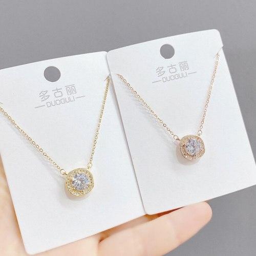 Women's Korean-Style Micro-Inlaid Zircon Necklace Clavicle Chain Pendant Gift Jewelry
