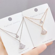Small Skirt Fan-Shaped Necklace Women's Diamond Clavicle Chain Micro-Inlaid Zircon Rose Gold Women's Jewelry Pendant Wholesale