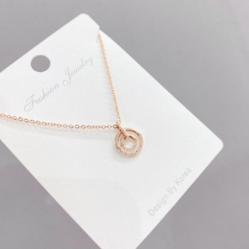 Simple All-Match Circle Clavicle Chain Necklace Fashion Micro Inlaid Zircon Ring Necklace Female Fashion Ins Ornament