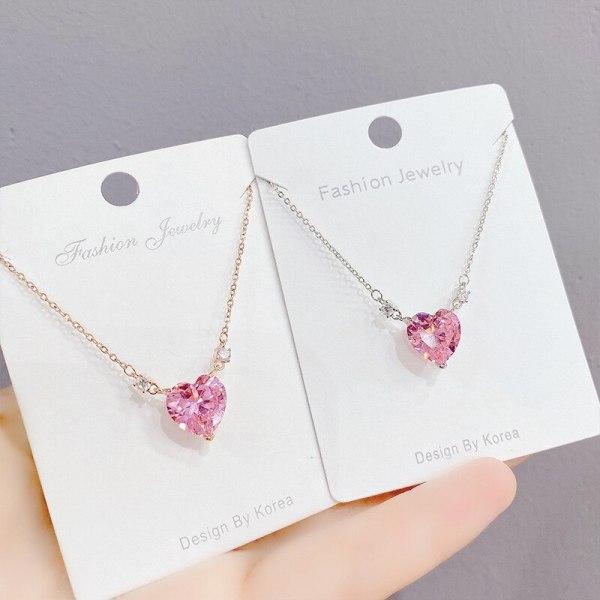 Korean-Style Fashion Micro-Inlaid Pink Zircon Necklace Women's Fashion Clavicle Chain Pendant Ornament