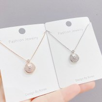 Korean Necklace Women's Simple Short Clavicle Chain Zircon Lucky Charm Pendant Necklace Student Jewelry
