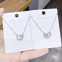 Micro Diamond Necklace Korean Style Simple Rose Gold Plated Clavicle Chain Pendant XINGX Moon Girl Necklace