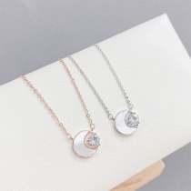 Vintage Zircon Shell Moon Pendant Necklace Female White Moonlight Simple Gentle Temperament Clavicle Chain Necklace