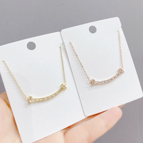 Korean Smile Double T Necklace Women's Fashion Necklace All-Match Micro Inlaid Zircon Smiley Face Clavicle Chain Pendant