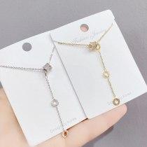 Korean Style Fashionable Small Waist Tassel Micro Full Diamond Necklace Women's All-Match Simple Fashion Clavicle Chain Pendant