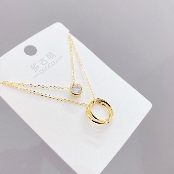 Korean-Style Fashion Micro-Inlaid Zircon Necklace Women's Clavicle Chain Detachable Dual-Use Jewelry