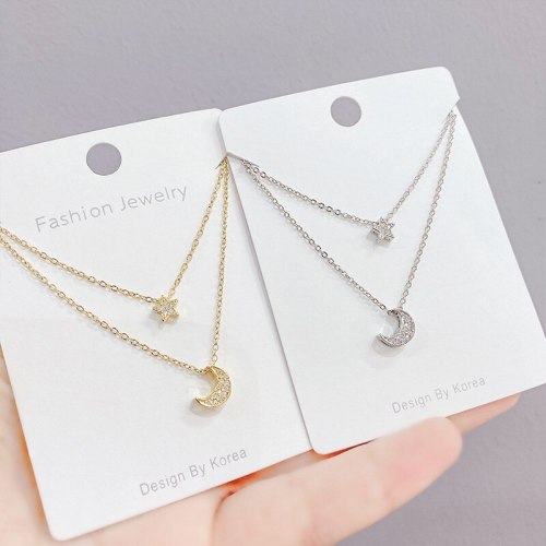 Korean Star Moon Necklace Women's Exquisite Pentagram Star Simple All-Match Moon Clavicle Chain Pendant Anti-Allergy Jewelry
