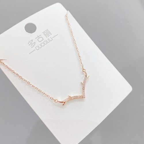 Micro-Inlaid Diamond Antlers Necklace Japanese and Korean All-Match All the Way You Elk Clavicle Chain Female Jewelry