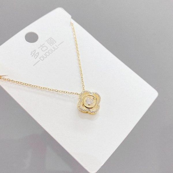 Korean-Style Fashion Smart Necklace Women's Micro-Inlaid Zircon Pendant Clover Korean-Style Short Clavicle Chain Pendant