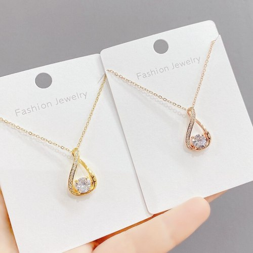 Micro Inlaid Zircon Smart Necklace Female Clavicle Chain Korean Style Birthday Gift Ornament for Girlfriend