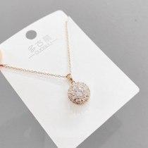 Korean Fashion Exquisite Micro Inlaid Zircon Necklace Clavicle Chain Pendant Female Korean Temperament Necklace Female Jewelry