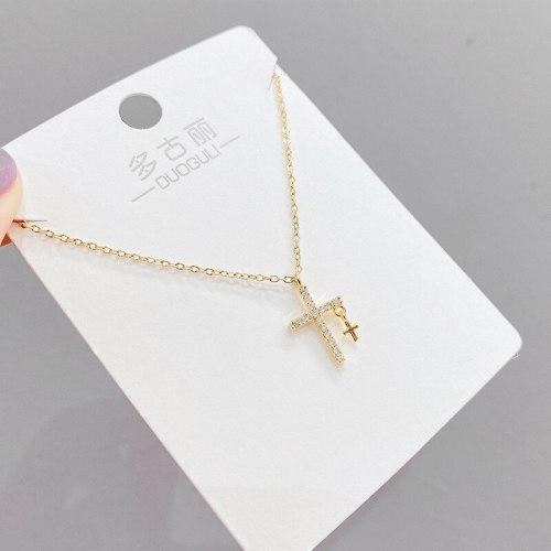 Fashion Micro Inlaid Zircon Necklace Women's Diamond Six-Pointed Star Pendant Cross Korean Style Short Clavicle Chain Jewelry