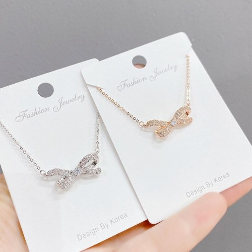 Korean Style Super Fairy Bow Necklace Female Personality Temperament Ins Fashion Necklace Wholesale