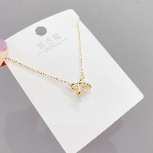Korean Style Fashion Bow Smart Sterling Silver Necklace Heart-Shaped Fashion Ins Style Clavicle Chain Pendant Female Jewelry