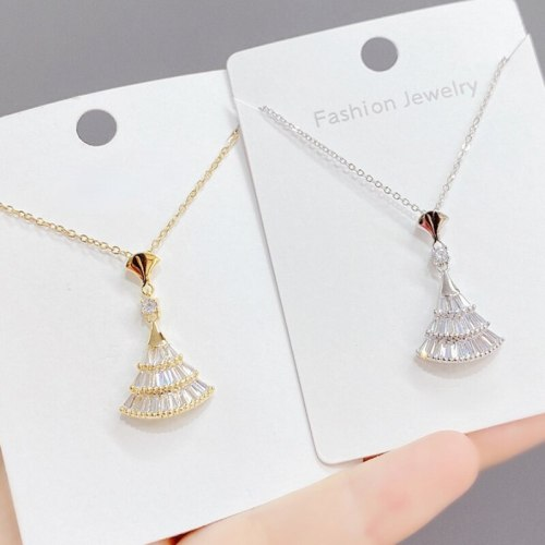 Korean Short Necklace Women's Fashionable Personalized Exquisite Temperament Popular Skirt Inlaid Zircon Clavicle Chain Pendant