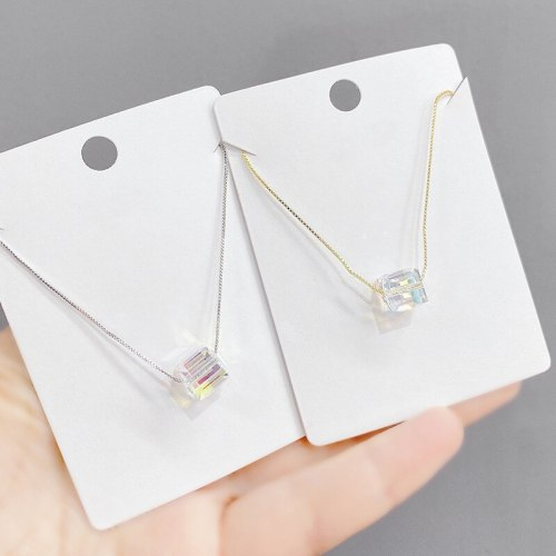 Korean Fashion Cube Sugar Pendant Crystal Pendant Women's Japanese and Korean Fashion Necklace Clavicle Chain Jewelry