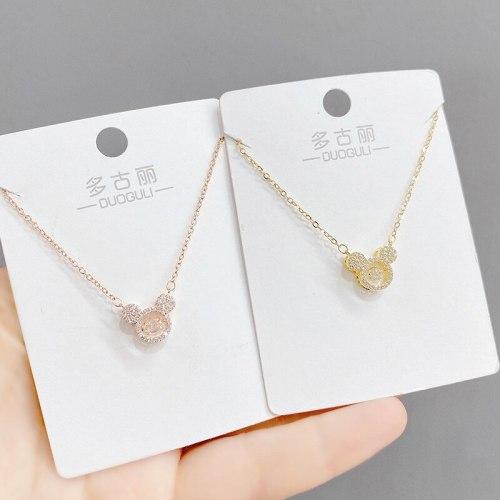 Necklace Women's Korean-Style Light Luxury Elegant Diamond-Embedded Smart Cartoon Little Mouse Clavicle Chain Pendant Ornament