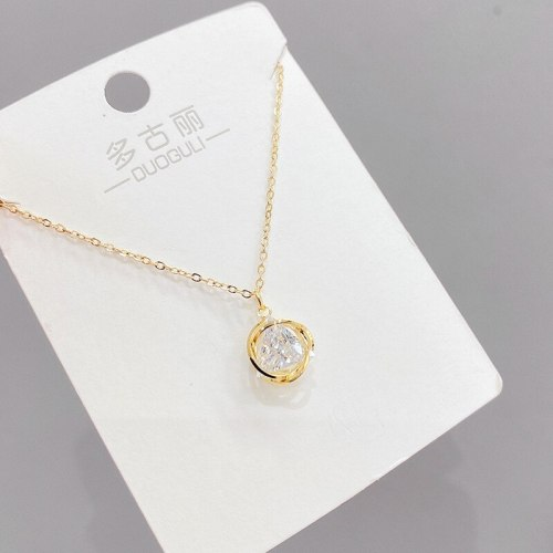 Korean Style Fashionable Simple Micro-Inlaid Zircon Necklace Female Clavicle Chain Pendant Student Gift Ornament