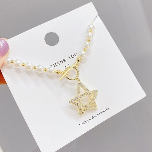 Natural Pearl Necklace Special-Shaped Pearl Vintage Court Style Elegant Five-Pointed Star Clavicle Chain Pendant Female Jewelry