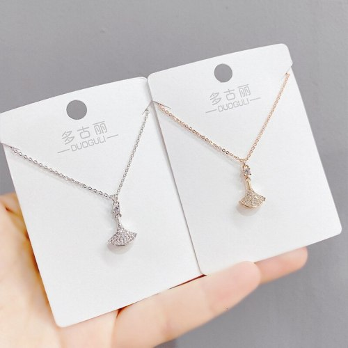 Micro-Inlaid Luxury Full Diamond Fan-Shaped Small Skirt Necklace Korean Style Popular Clavicle Chain Socialite Necklace Jewelry