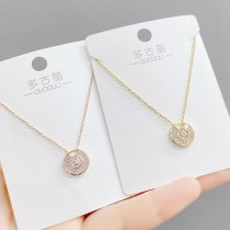 New Japanese and Korean Fashion Micro Inlaid Zircon Necklace Women's Lucky Charm Clavicle Chain Pendant Student Gift Ornament