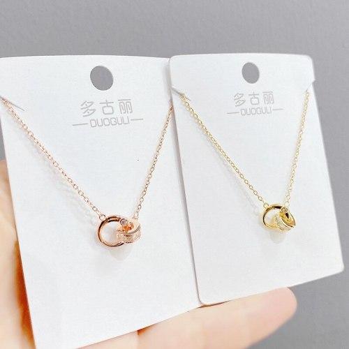 Double Ring Necklace Women's Korean-Style Elegant Zircon Pendant Clavicle Chain Student Fashion Ornament