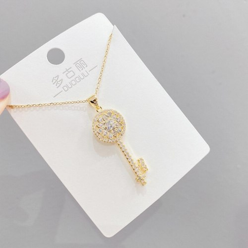 Rose Gold Micro Inlaid Zircon Necklace Female Clavicle Chain Pendant Simple Temperament Ins Key Pendant Jewelry