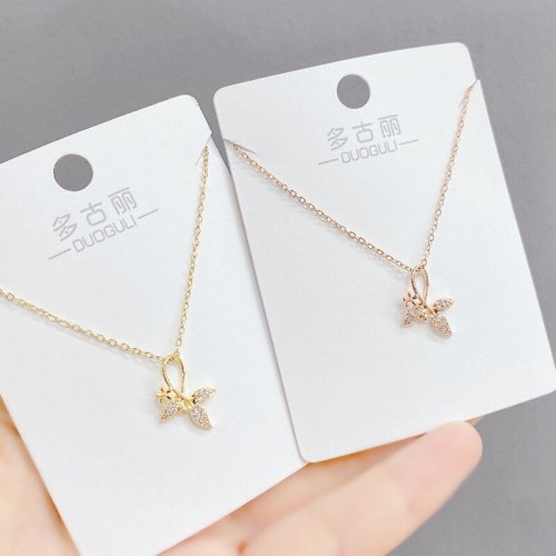 Women's Korean-Style Fashion Micro-Inlaid Zircon Necklace Ins-Style Petal Clavicle Chain Pendant Ornament