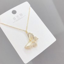 2021new Opal Butterfly Necklace Women's Japanese and Korean Ins Simple Fashion Clavicle Chain Pendant Ornament