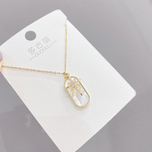 Korean Style Eight Awn Star Light Luxury Necklace Women's Shell Simple Elegant Clavicle Chain Pendant Necklace Ornament