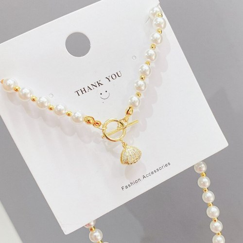 European and American Jewelry Shaped Pearl Necklace Micro Inlaid Zircon Shell Clavicle Chain Pendant Necklace Ornament Wholesale