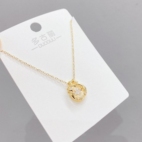 Smart Hollow Five-Pointed Star Necklace Female Personality Fashion Clavicle Chain Korean Light Luxury Zircon Pendant