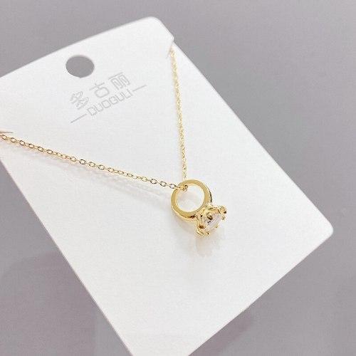 INS Fashion Personality Wild Mini Ring Zircon Necklace Female Temperament Clavicle Chain Necklace Wholesale