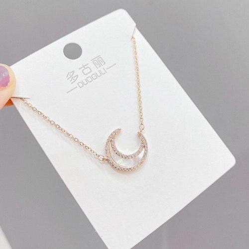 Super Fairy Vintage Zircon Shell Moon Pendant Necklace Female White Moonlight Simple Gentle Temperament Clavicle Chain Necklace