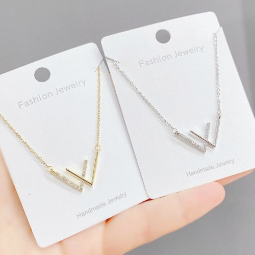 Korean Style W Letter Necklace Women's Personality Simple Double V Clavicle Chain Fashion Trendy Temperament Ornament