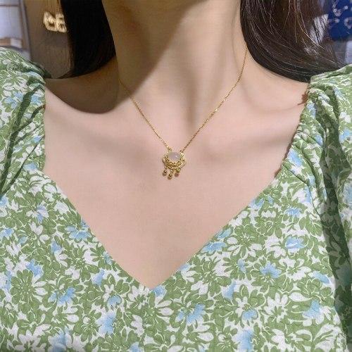 Xiangyun Ruyi Safety Long Life Lock Necklace for Women Retro Trendy Light Luxury Ornament