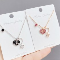 Red Peach Heart Key Fashion Popular Necklace Korean New Clavicle Chain Pendant Jewelry Wholesale
