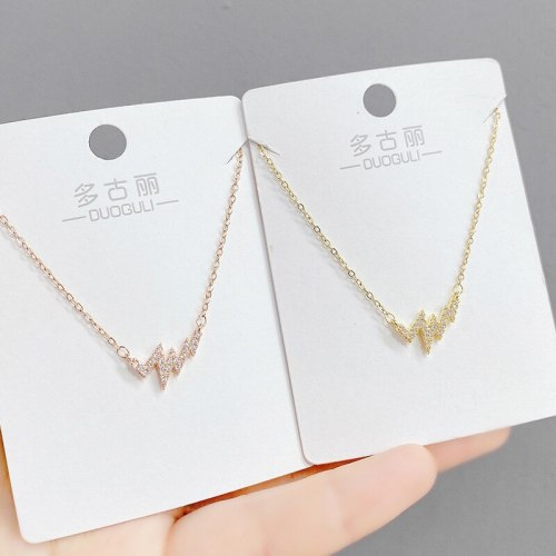 Heartbeat Necklace New Women's Light Luxury Pulsatile Heart Electric Picture Clavicle Chain Pendant for Girlfriend