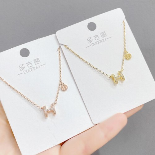 Clavicle Chain New Women's Necklace Light Luxury Micro Inlaid H Letter Necklace Necklace Ins Simple